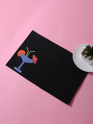 Black-Multicolored Dori Embellished Cotton Place Mat with Cocktail Design (17in x 11in)
