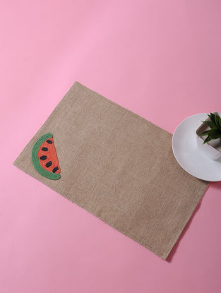 Brown-Multicolored Dori Embellished Jute Place Mat with Water Melon Design (17in x 11in)