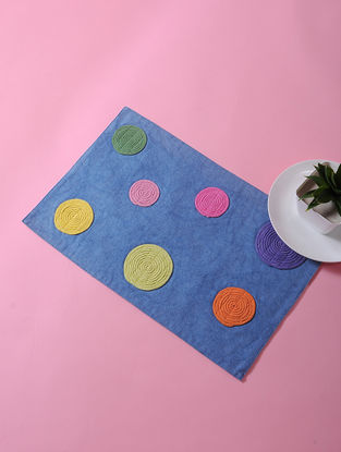 Blue-Multicolored Dori Embellished Cotton Place Mat (17in x 11in)