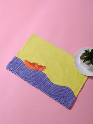 Multicolored Dori Embellished Cotton Place Mat with Boat Design (17in x 11in)