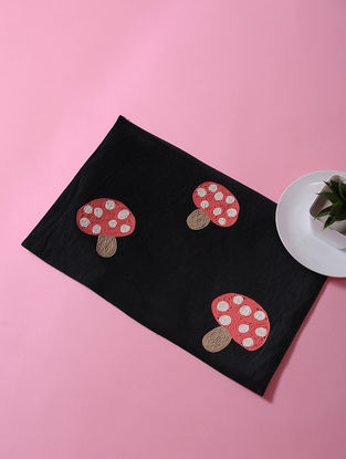 Black-Multicolored Dori Embellished Cotton Place Mat with Mashroom Design (17in x 11in)