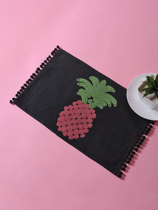Black-Multicolored Dori Embellished Cotton Place Mat with Pineapple Design (17in x 11in)