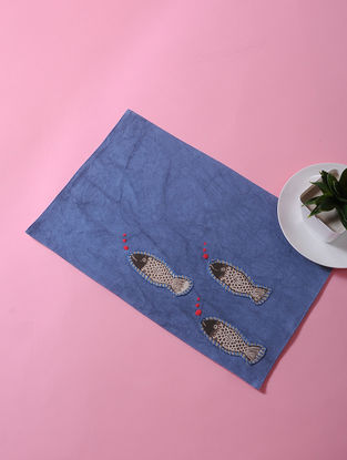 Blue-Multicolored Dori Embellished Cotton Place Mat with Fish Design (17in x 11in)
