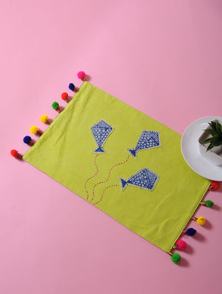 Green-Multicolored Dori Embellished Cotton Place Mat with Pom-pom and Kite Design (17in x 11in)