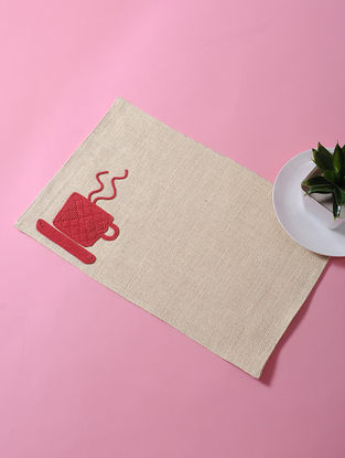 Cream-Red Dori Embellished Cotton Place Mat with Coffee Mug Design (17in x 11in)