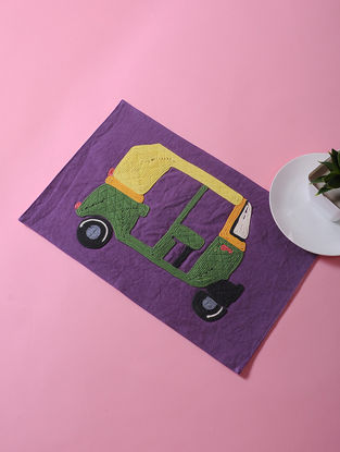 Purple-Multicolored Dori Embellished Cotton Place Mat with Auto Rikshaw Design (17in x 11in)