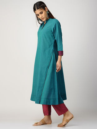 Blue-Purple Cotton Kurta with Silk Trim