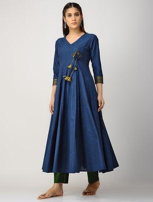 Indigo-Green Kalidar Cotton Kurta with Silk Trim