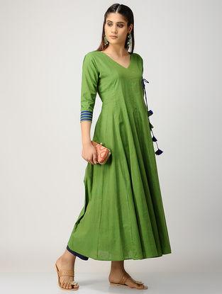 Green-Indigo Kalidar Cotton Kurta with Silk Trim