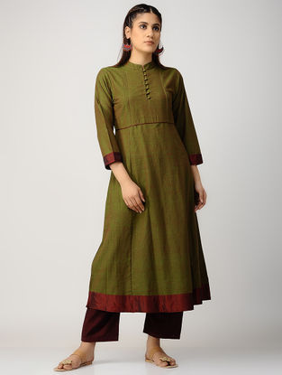 Green-Maroon Cotton Kurta with Silk Trim