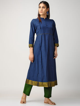 Indigo-Green Pintuck Cotton Kurta with Silk Trim
