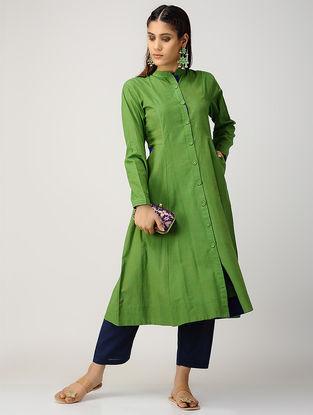 Green-Indigo Cotton Kurta with Silk Trim