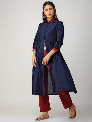 Indigo-Red Cotton Kurta with Silk Trim