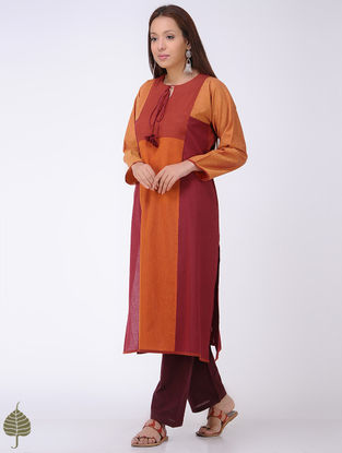 Maroon-Orange Mangalgiri Cotton Kurta by Jaypore
