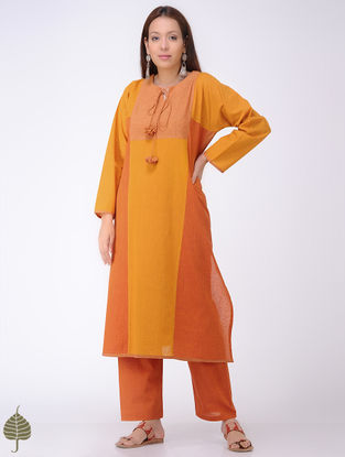 Yellow-Orange Mangalgiri Cotton Kurta by Jaypore