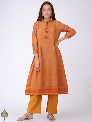 Orange Mangalgiri Cotton Kurta by Jaypore