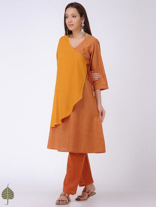 Yellow-Orange Mangalgiri Cotton Angrakha by Jaypore