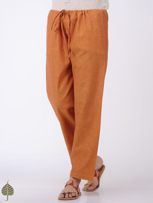 Orange Tie-up Waist Mangalgiri Cotton Pants by Jaypore