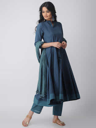 Blue Kalidar Handloom Cotton Kurta by Jaypore