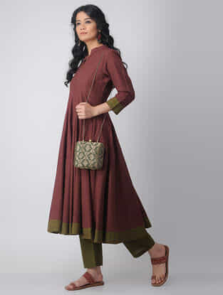 Maroon-Green Kalidar Handloom Cotton Kurta by Jaypore