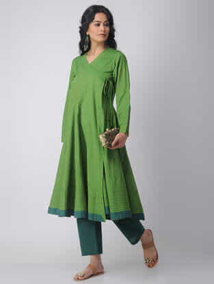 Green Handloom Cotton Angrakha by Jaypore