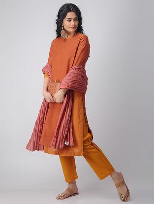 Orange Layered Handloom Cotton Kurta by Jaypore