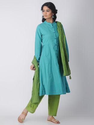 Blue Front-Open Handloom Cotton Kurta by Jaypore