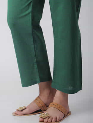 Green Tie-up Waist Handloom Cotton Pants by Jaypore