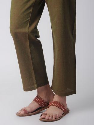 Olive Tie-up Waist Handloom Cotton Pants by Jaypore