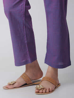 Purple Tie-up Waist Handloom Cotton Pants by Jaypore