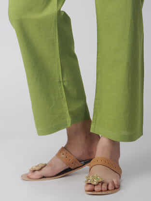 Green Tie-up Waist Handloom Cotton Pants by Jaypore
