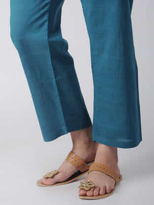 Blue Tie-up Waist Handloom Cotton Pants by Jaypore