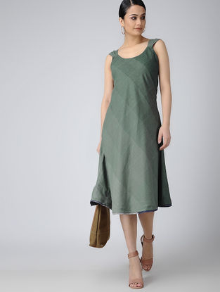 Green-Blue Reversible Handloom Cotton Dress