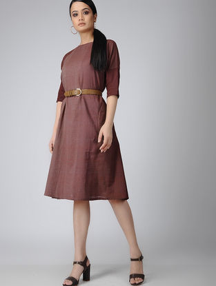 Maroon Handloom Cotton Dress with Pockets