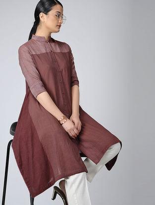 Maroon Front-open Handloom Cotton Kurta with Pockets