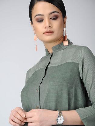 Green Front-open Handloom Cotton Kurta with Pockets