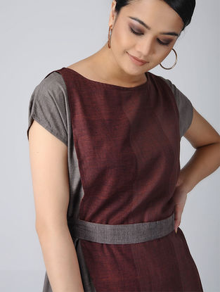Maroon-Grey Handloom Cotton Dress with Belt