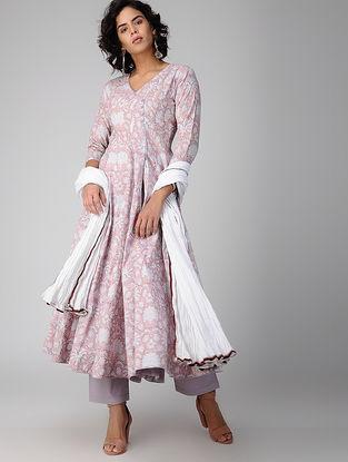 Ivory-Pink Block-printed Cotton Kalidar Kurta