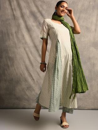 Ivory-Green Handloom Ikat Cotton Kurta