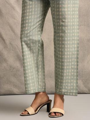 Green Tie-up Waist Handloom Ikat Cotton Pants