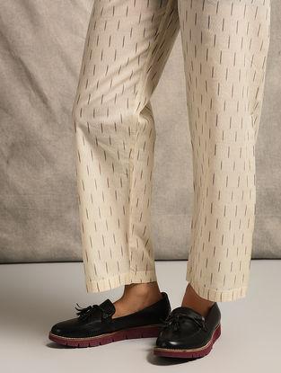 Ivory Tie-up Waist Handloom Ikat Cotton Pants