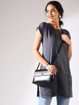 Blue Handloom Cotton Tunic with Pockets