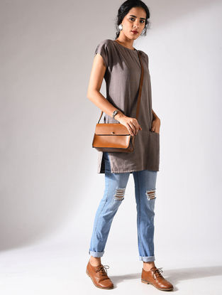 Brown Handloom Cotton Tunic with Pockets