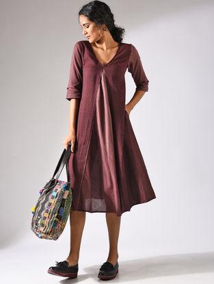 Maroon Handloom Cotton Dress with Pockets