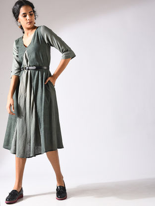 Green Handloom Cotton Dress with Pockets