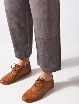 Brown Tie-up Waist Handloom Cotton Pants