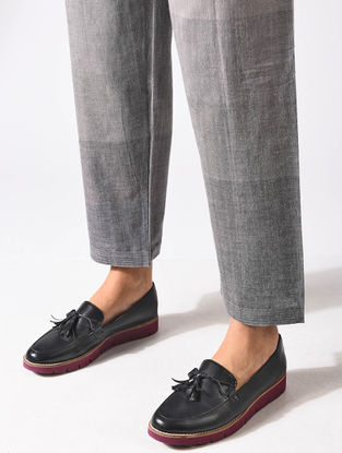 Grey Tie-up Waist Handloom Cotton Pants
