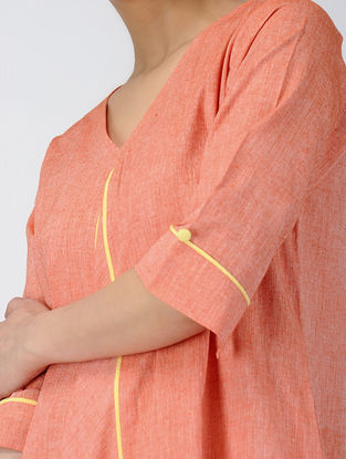Orange Handloom Cotton Dress