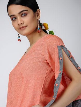 Orange Handloom Cotton Dress with Pockets