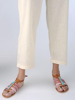 Ivory Tie-up Waist Cotton Slub Pants